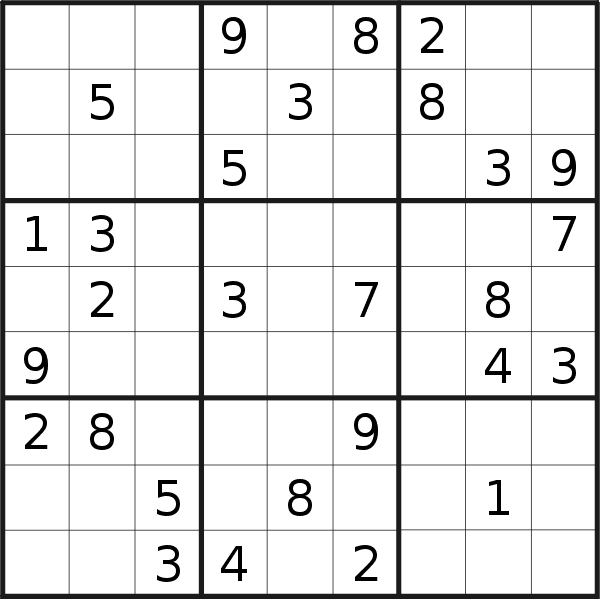 Sudoku puzzle for <br />Tuesday, 20th of August 2019