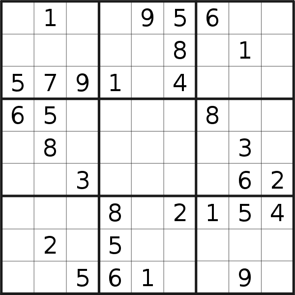 Sudoku puzzle for <br />Wednesday, 28th of August 2019