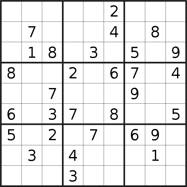 Sudoku puzzle for <br />Sunday, 1st of September 2019