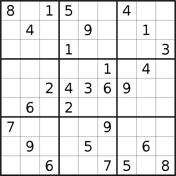 Sudoku puzzle for <br />Tuesday, 3rd of September 2019
