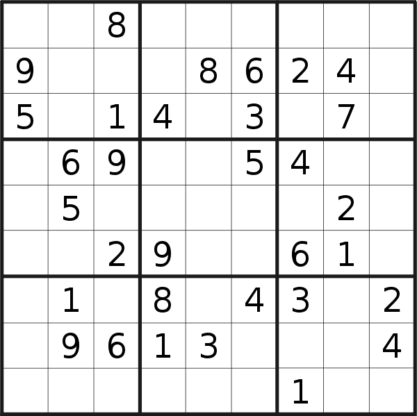 Sudoku puzzle for <br />Saturday, 7th of September 2019