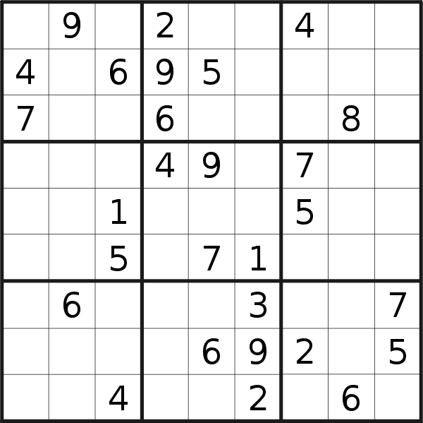 Sudoku puzzle for <br />Friday, 13th of September 2019