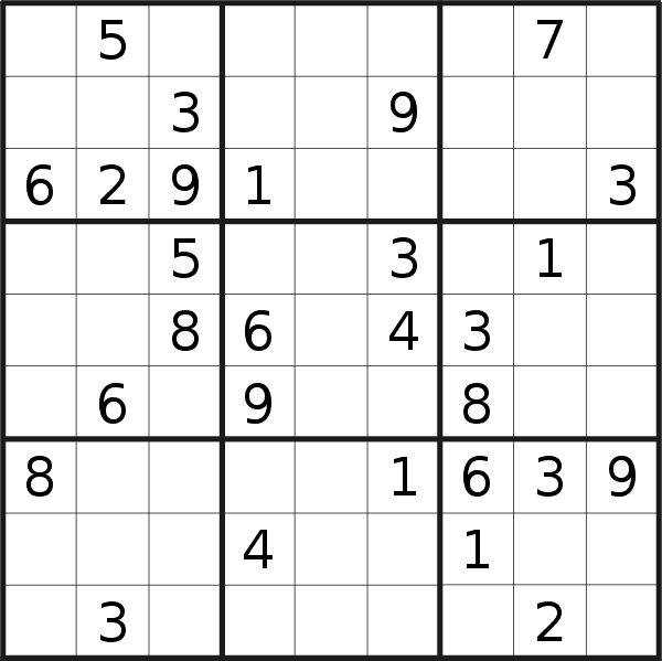 Sudoku puzzle for <br />Tuesday, 17th of September 2019