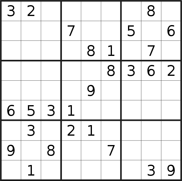 Sudoku puzzle for <br />Wednesday, 18th of September 2019