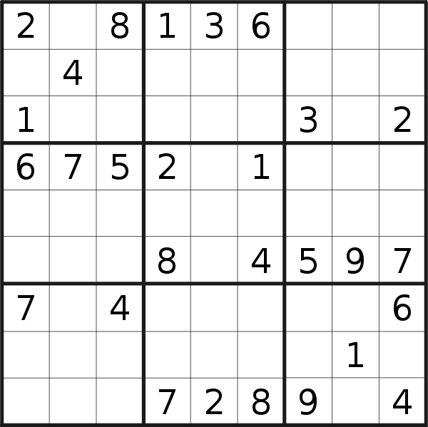 Sudoku puzzle for <br />Saturday, 21st of September 2019