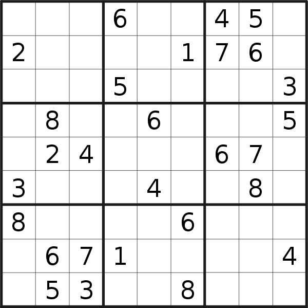 Sudoku puzzle for <br />Monday, 23rd of September 2019