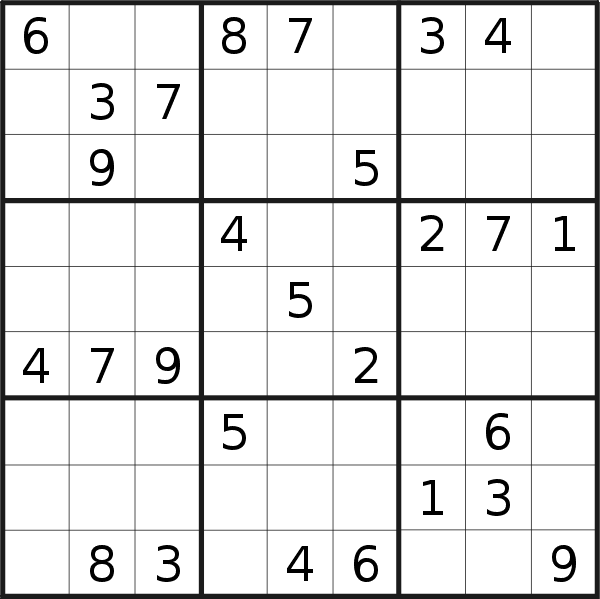 Sudoku puzzle for <br />Friday, 27th of September 2019