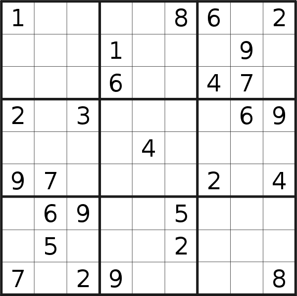 Sudoku puzzle for <br />Sunday, 29th of September 2019
