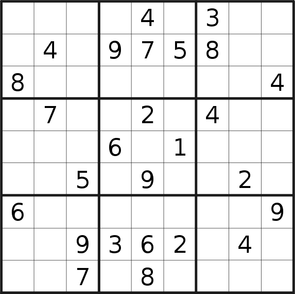 Sudoku puzzle for <br />Thursday, 3rd of October 2019