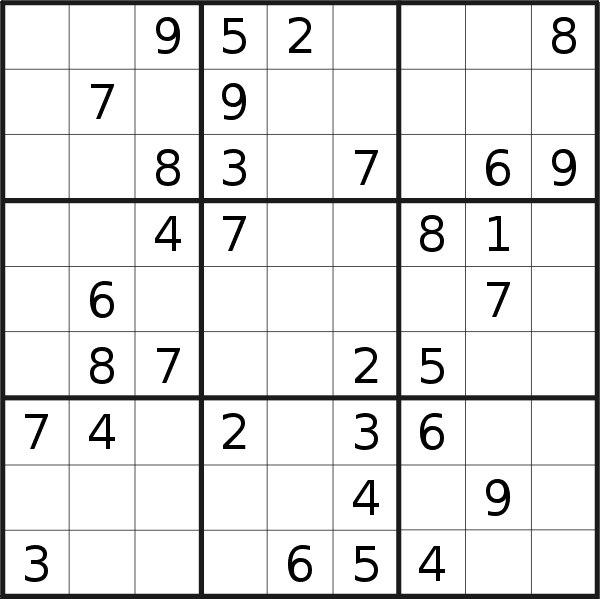 Sudoku puzzle for <br />Monday, 7th of October 2019