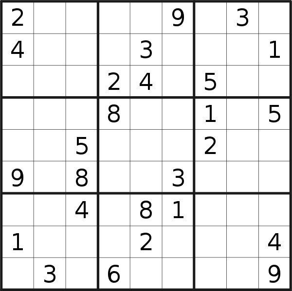 Sudoku puzzle for <br />Tuesday, 8th of October 2019