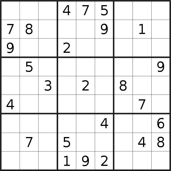 Sudoku puzzle for <br />Wednesday, 9th of October 2019