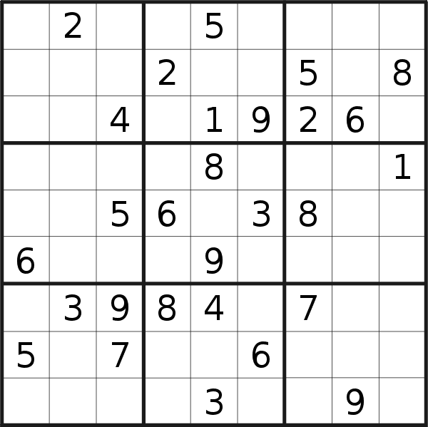 Sudoku puzzle for <br />Saturday, 12th of October 2019
