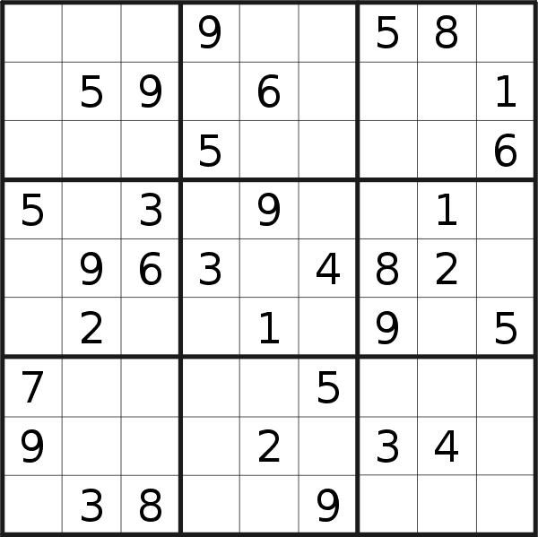 Sudoku puzzle for <br />Sunday, 13th of October 2019