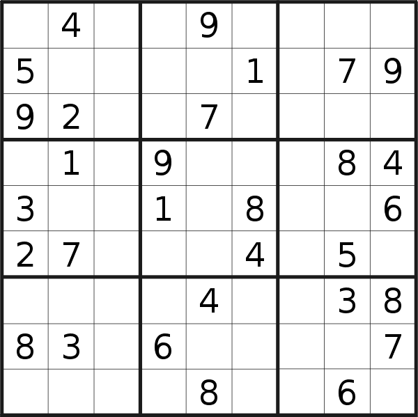 Sudoku puzzle for <br />Sunday, 1st of December 2019