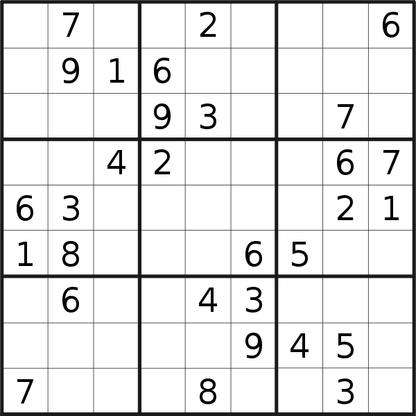 Sudoku puzzle for <br />Sunday, 12th of January 2020