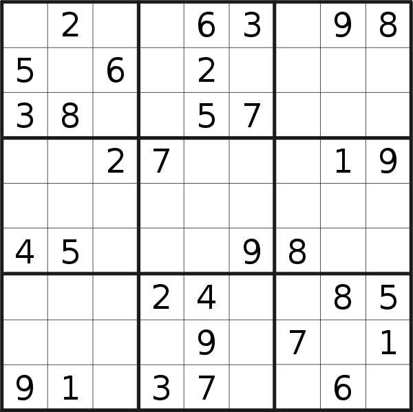 Sudoku puzzle for <br />Sunday, 26th of January 2020