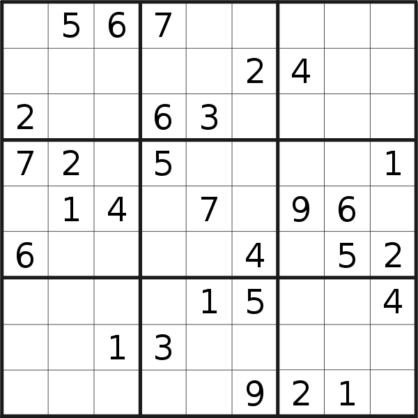 Sudoku puzzle for <br />Monday, 27th of January 2020