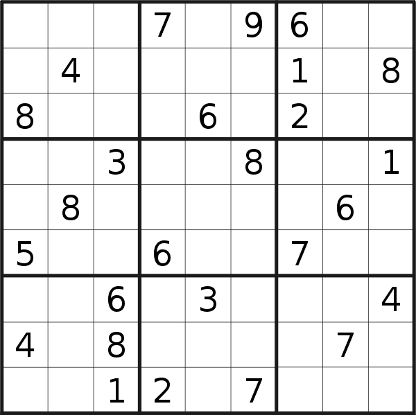 Sudoku puzzle for <br />Sunday, 9th of February 2020