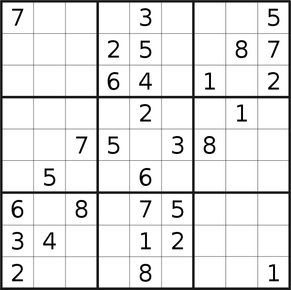 Sudoku puzzle for <br />Thursday, 13th of February 2020
