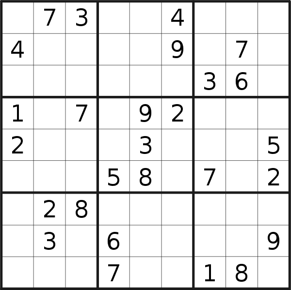 Sudoku puzzle for <br />Monday, 17th of February 2020