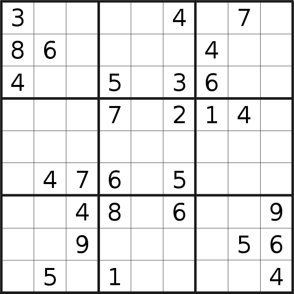 Sudoku puzzle for <br />Thursday, 20th of February 2020