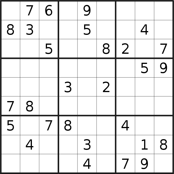 Sudoku puzzle for <br />Saturday, 7th of March 2020