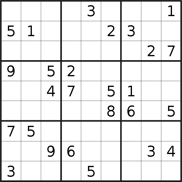 Sudoku puzzle for <br />Sunday, 8th of March 2020
