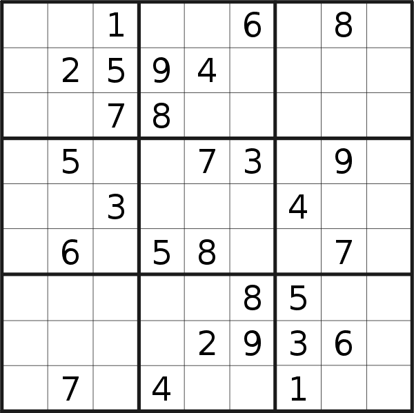Sudoku puzzle for <br />Friday, 13th of March 2020
