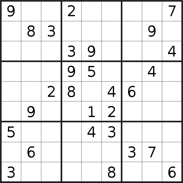 Sudoku puzzle for <br />Thursday, 26th of March 2020