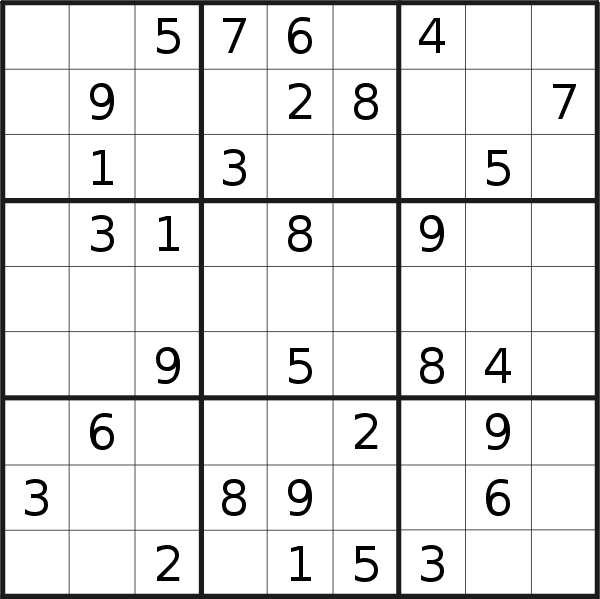 Sudoku puzzle for <br />Saturday, 28th of March 2020