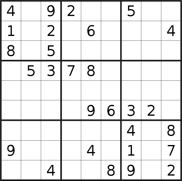 Sudoku puzzle for <br />Saturday, 4th of April 2020