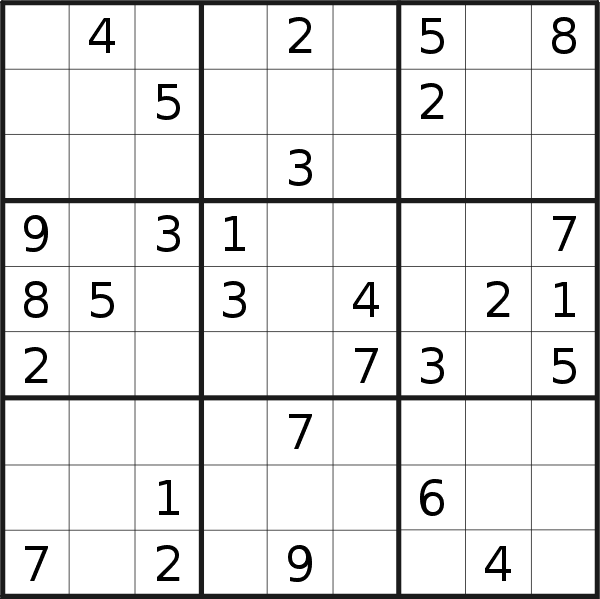 Sudoku puzzle for <br />Monday, 20th of April 2020
