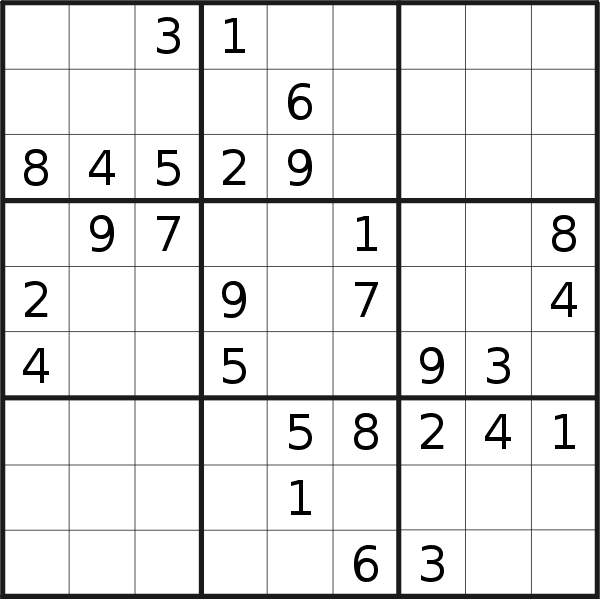 Sudoku puzzle for <br />Monday, 27th of April 2020
