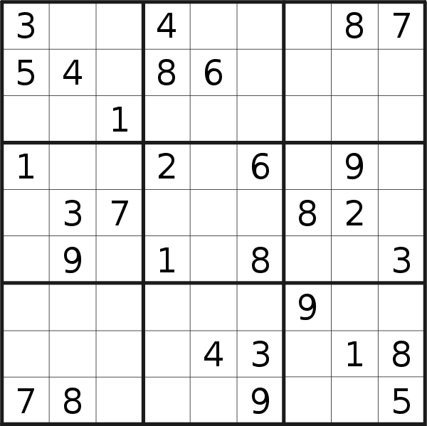 Sudoku puzzle for <br />Wednesday, 29th of April 2020