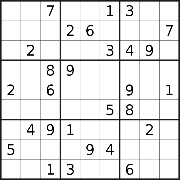 Sudoku puzzle for <br />Saturday, 9th of May 2020
