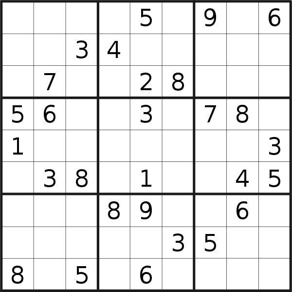 Sudoku puzzle for <br />Sunday, 10th of May 2020