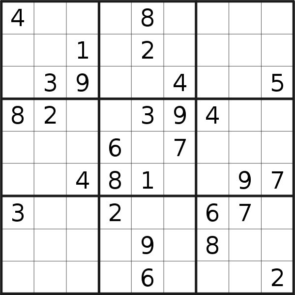 Sudoku puzzle for <br />Monday, 18th of May 2020