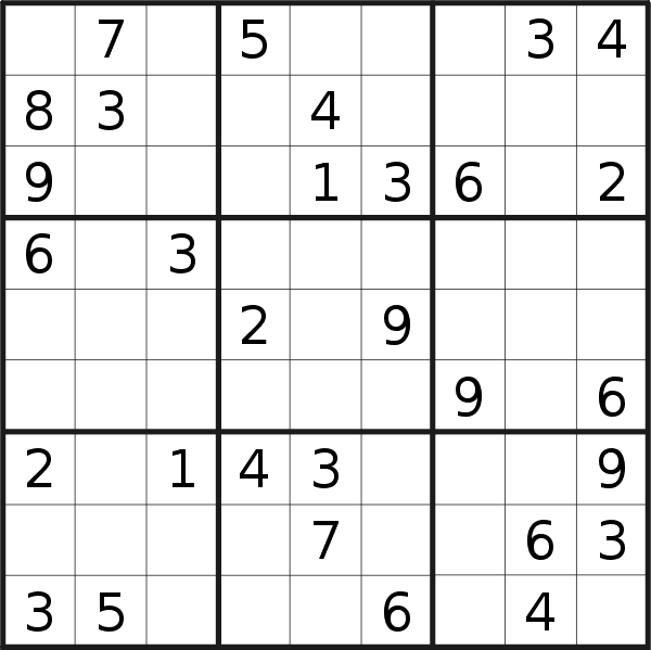 Sudoku puzzle for <br />Wednesday, 20th of May 2020