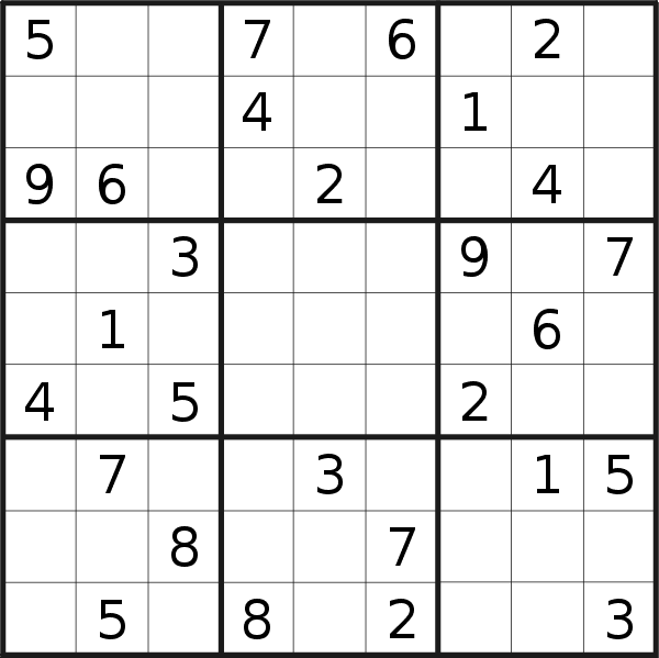 Sudoku puzzle for <br />Sunday, 24th of May 2020