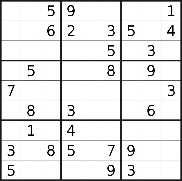 Sudoku puzzle for <br />Sunday, 31st of May 2020