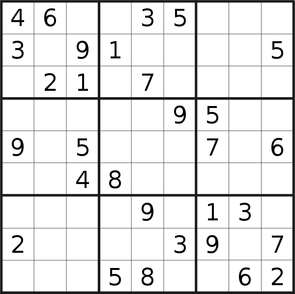 Sudoku puzzle for <br />Monday, 15th of June 2020