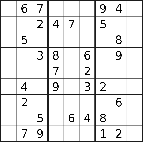 Sudoku puzzle for <br />Monday, 22nd of June 2020