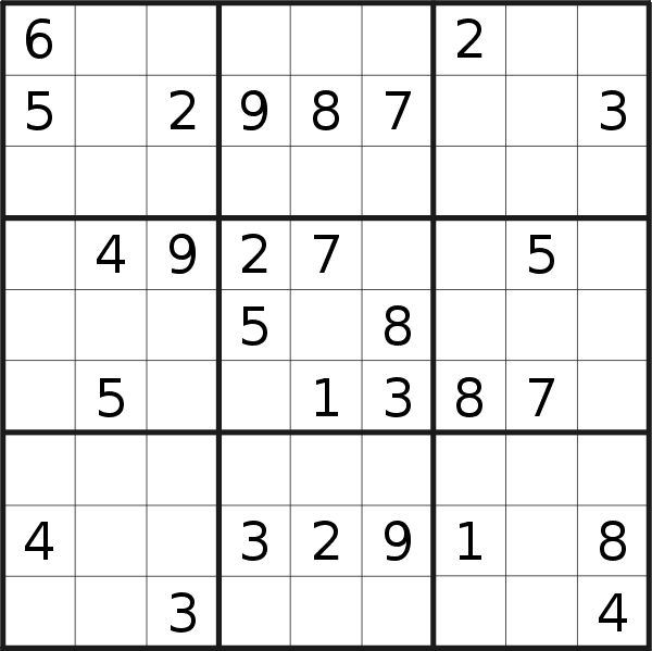 Sudoku puzzle for <br />Saturday, 27th of June 2020