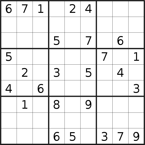 Sudoku puzzle for <br />Wednesday, 1st of July 2020