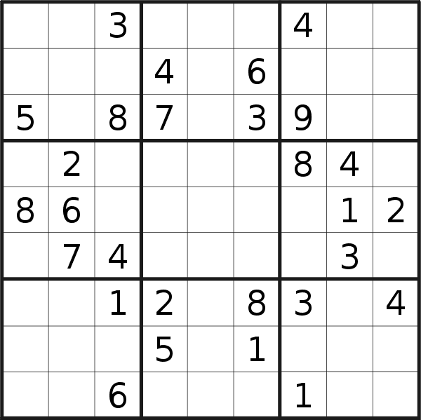 Sudoku puzzle for <br />Saturday, 4th of July 2020