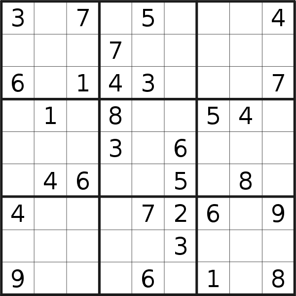 Sudoku puzzle for <br />Wednesday, 15th of July 2020