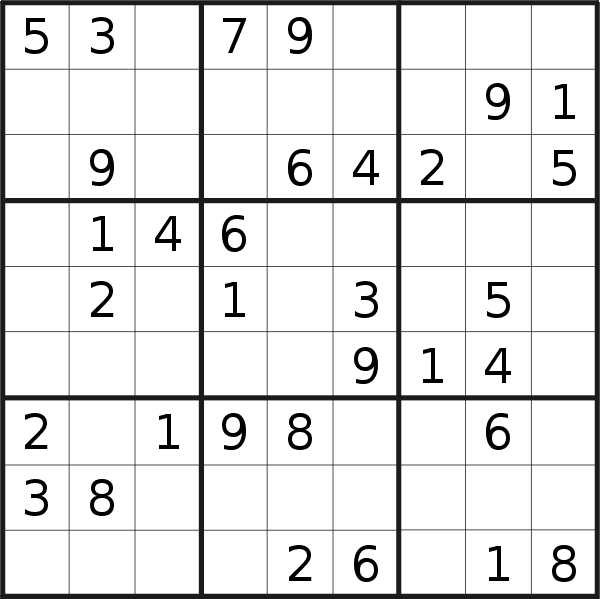 Sudoku puzzle for <br />Saturday, 18th of July 2020