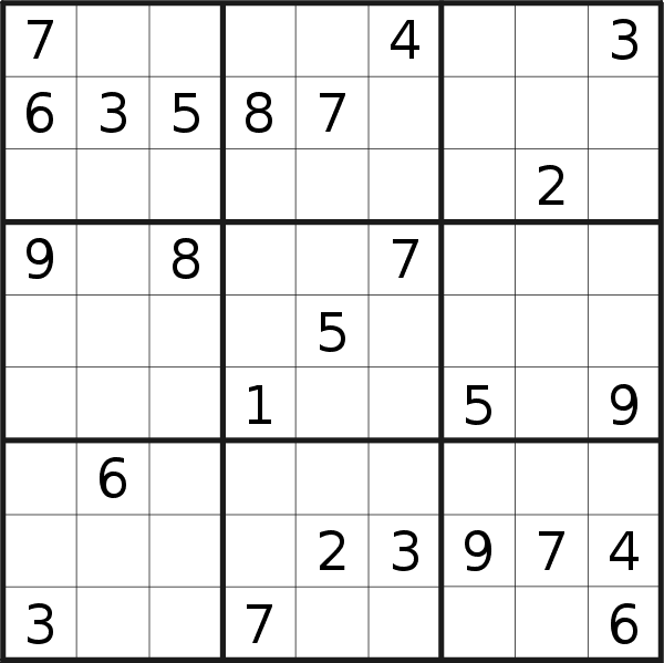 Sudoku puzzle for <br />Wednesday, 22nd of July 2020