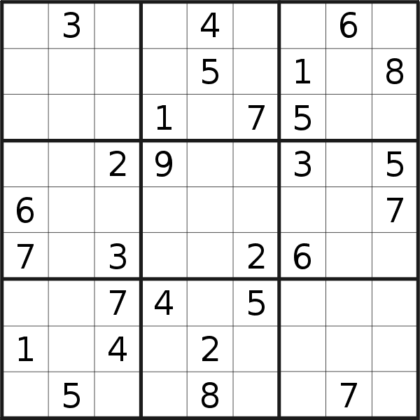 Sudoku puzzle for <br />Sunday, 16th of August 2020